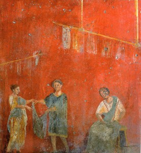 Roman-fresco-showing-two-women-and-a-man-working-together.-From-the-fullonica-dyers-shop-of-Veranius-Hypsaeus-in-Pompeii.-277x300