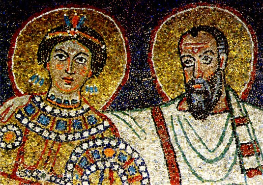 Mosaic-of-Paul-presenting-Praxedes-to-Christ