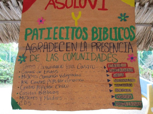 "The Community ""Patiecitos Bible"" greeting to different groups."