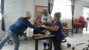 The team of volunteers preparing the Custard.